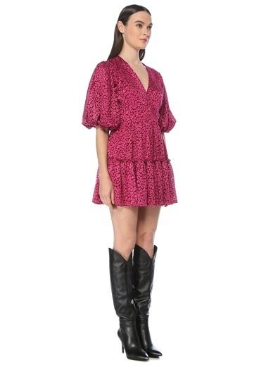 NetWork Kadın 1075402 Regular Fit Çiçek Desenli Mini Elbise Fuşya